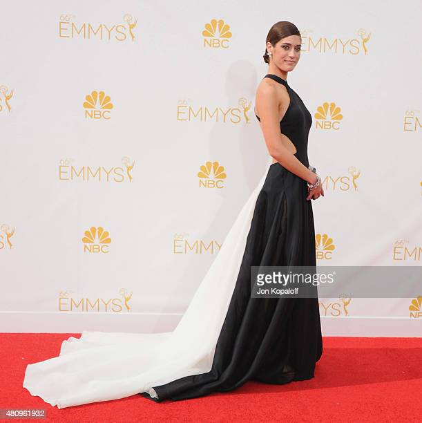 Actress Lizzy Caplan arrives at the 66th Annual Primetime Emmy Awards at Nokia Theatre LA Live on August 25 2014 in Los Angeles California