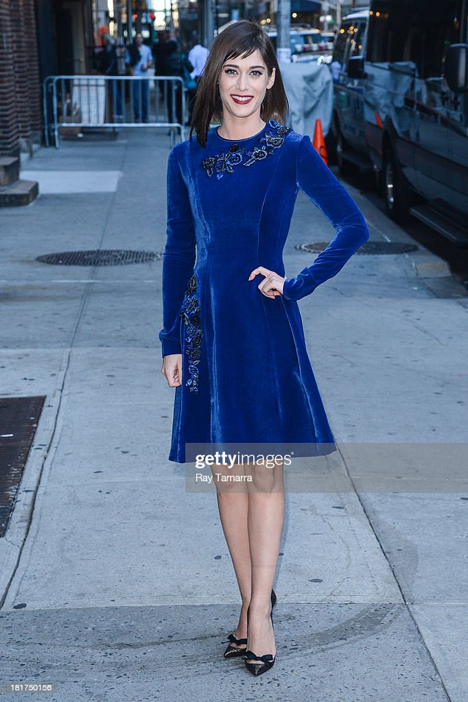 Actress <a gi-track='captionPersonalityLinkClicked' href=/galleries/search?phrase=Lizzy+Caplan&family=editorial&specificpeople=599560 ng-click='$event.stopPropagation()'>Lizzy Caplan</a> enters the 'Late Show With David Letterman' taping at the Ed Sullivan Theater on September 24, 2013 in New York City.