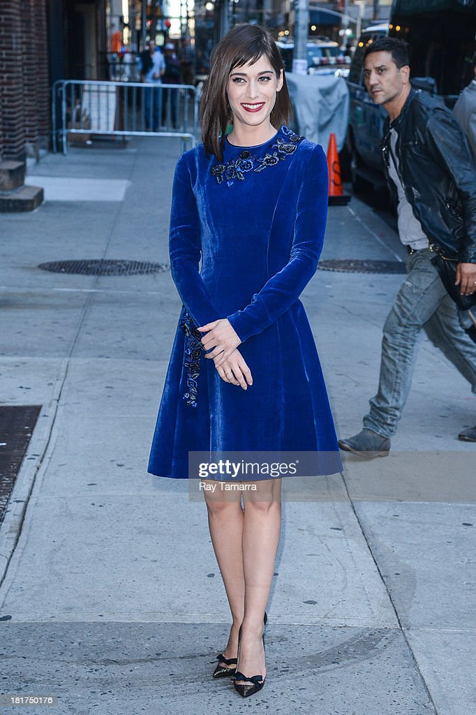Actress Lizzy Caplan enters the 'Late Show With David Letterman' taping at the Ed Sullivan Theater on September 24, 2013 in New York City.