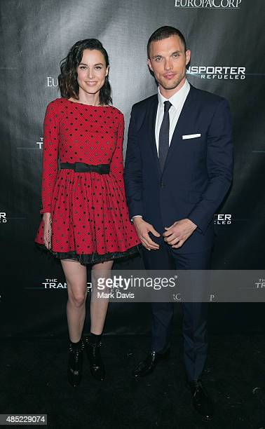 Actress Loan Chabanol and actor Ed Skrein arrive at the EuroaCorp's 'The Transporter Refueled' held at the The Playboy Mansion on August 25 2015 in...