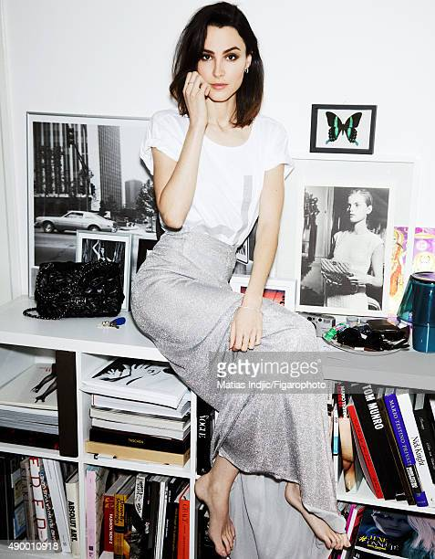 Actress Loan Chabanol is photographed for Madame Figaro on May 16 2015 in Paris France Tshirt skirt earrings ring and bracelet PUBLISHED IMAGE CREDIT...