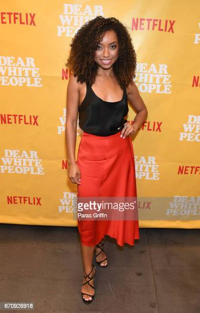 Actress Logan Browning attends Dear White People Atlanta screening at The Gathering Spot on April 20 2017 in Atlanta Georgia