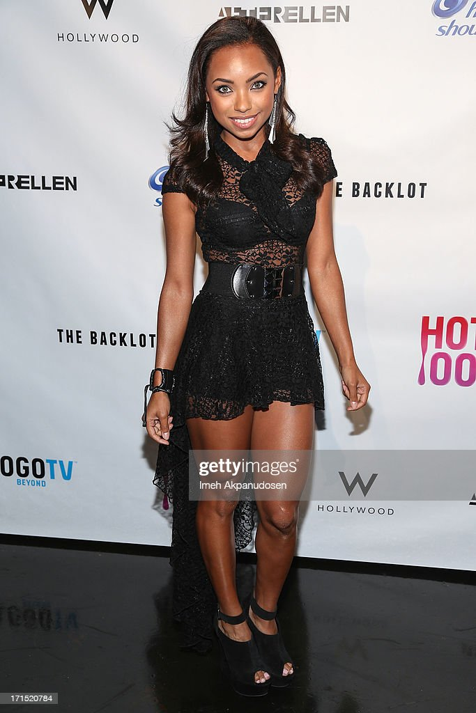 Actress Logan Browning attends Logo's 'Hot 100' Party at Drai's Lounge in W Hollywood on June 25, 2013 in Hollywood, California.