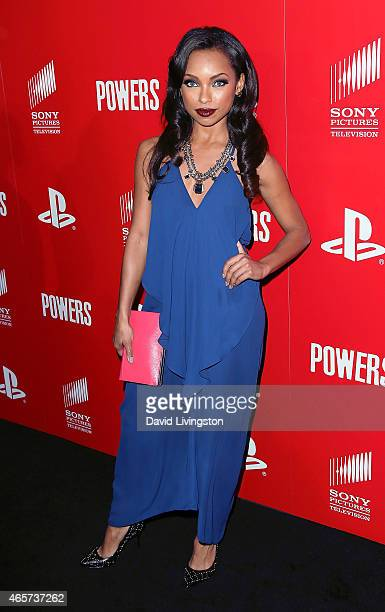 Actress Logan Browning attends the PlayStation Sony Pictures Television series premiere of 'POWERS' at Sony Pictures Studios on March 9 2015 in...