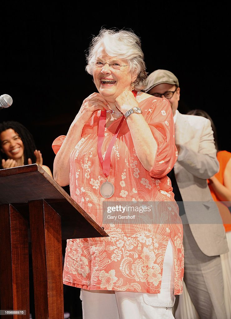 Actress Lois Smith recipient of the Lifetime Achievement in Acting Award on stage at The Lilly Awards at Playwrights Horizons on June 3 2013 in New...
