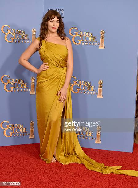 Actress Lola Kirke poses in the press room during the 73rd Annual Golden Globe Awards held at the Beverly Hilton Hotel on January 10 2016 in Beverly...