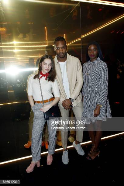 Actress Lola Le Lann Actor Ahmed Drame and Actress Karidja Toure attend Yves Saint Laurent Beauty Party as part of the Paris Fashion Week Womenswear...