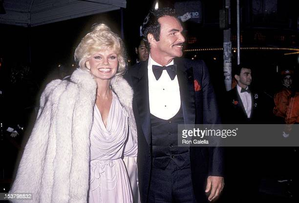 Actress Loni Anderson and actor Burt Reynolds attend the 'City Heat' Hollywood Premiere on December 5 1984 at the Mann's Chinese Theatre in Hollywood...