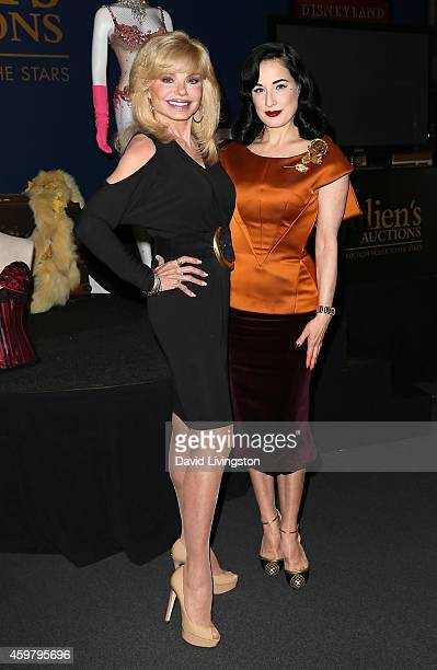 Actress Loni Anderson and burlesque dancer Dita Von Teese pose at the media press event of the collection of Gypsy Rose Lee hosted by Dita Von Teese...