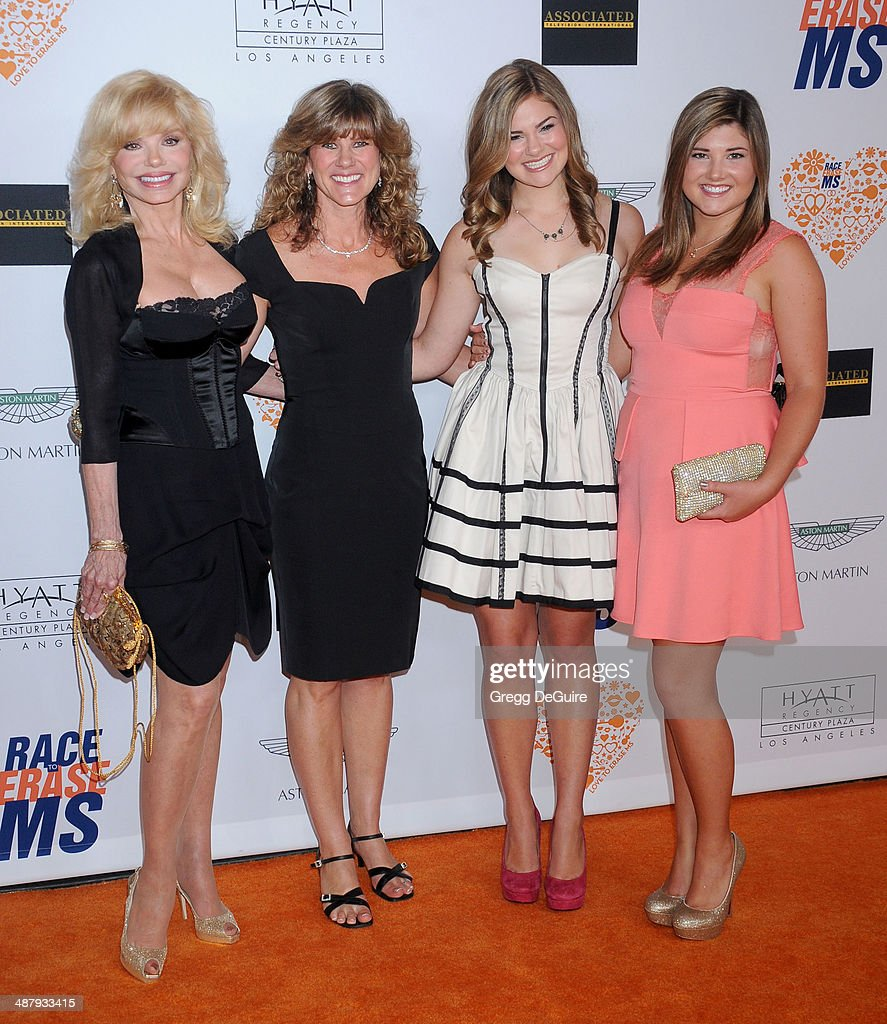Actress Loni Anderson, daughter Deidra Hoffman, granddaughters McKenzie Hoffman and Megan Hoffman arrive at the 21st Annual Race To Erase MS Gala at the Hyatt Regency Century Plaza on May 2, 2014 in Century City, California.