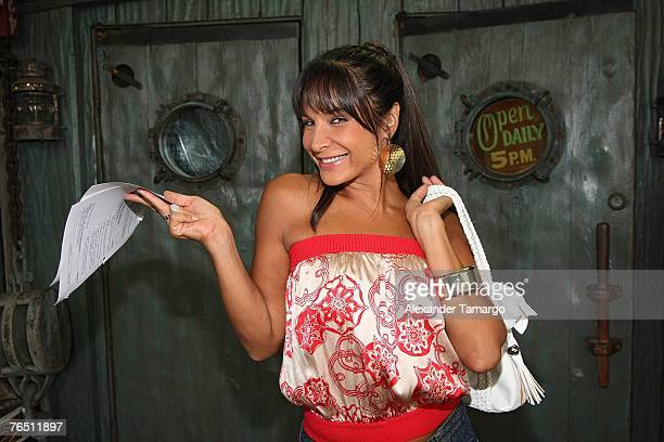 Actress Lorena Rojas poses backstage after filming scenes from the first episode of the Telemundo soap opera 'Pecados Ajenos' on September 4 2007 in...