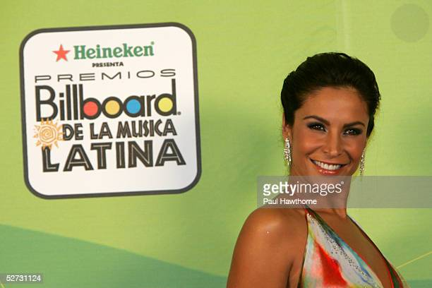 Actress Lorena Rojas poses backstage at 2005 Billboard Latin Music Awards at the Miami Arena April 28 2005 in Miami Florida