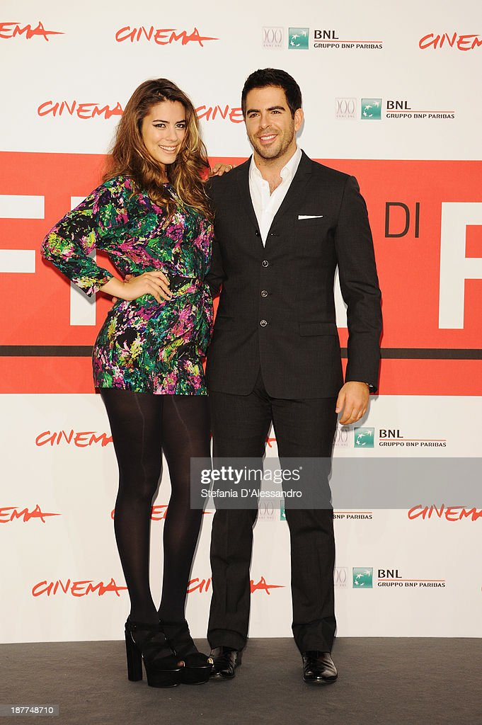Actress Lorenza Izzo and director Eli Roth attends the 'The Green Inferno' Photocall during the 8th Rome Film Festival at the Auditorium Parco Della Musica on November 12, 2013 in Rome, Italy.