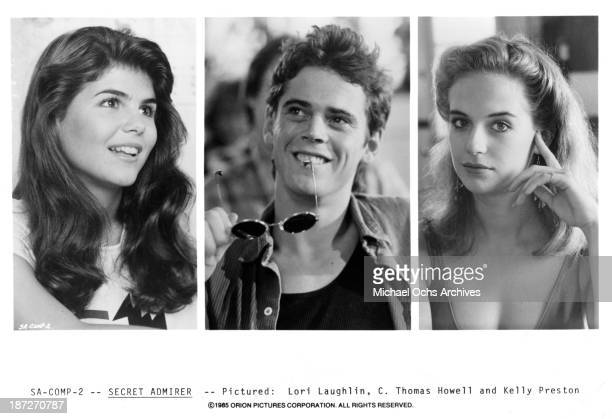 Actress Lori Loughlin and actor CThomas Howell and actress Kelly Preston on set of the Orion Picture movie 'Secret Admirer' in 1985