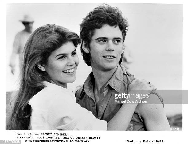 Actress Lori Loughlin and actor CThomas Howell on set of the Orion Picture movie 'Secret Admirer' in 1985