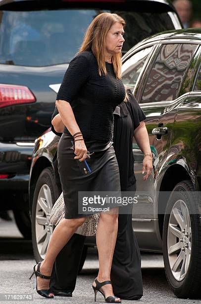 Actress Lorraine Bracco attends the funeral for actor James Gandolfini at The Cathedral Church of St John the Divine on June 27 2013 in New York City...