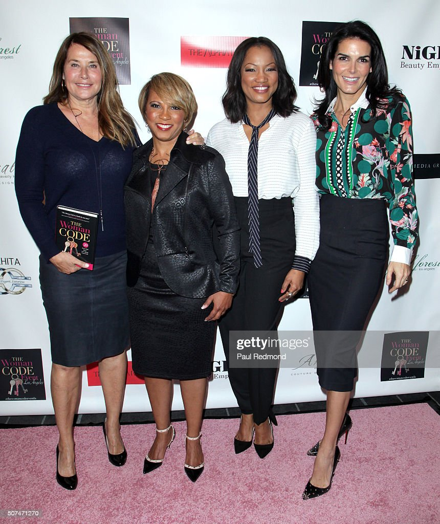 Actress Lorraine Bracco, author Sophia A. Nelson, actress Garcelle Beauvais and actress Angie Harmon attend An Evening With Author Of 'The Woman Code' Sophia A. Nelson hosted by Angie Harmon at City Club Los Angeles on January 29, 2016 in Los Angeles, California.