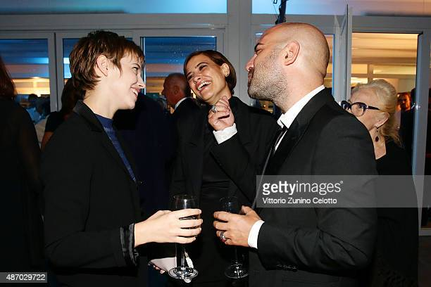 Actress Lou De Laage guest and singer Giuliano Sangiorgi attend a cocktail reception for 'The Wait' hosted by Tiffany Co during the 72nd Venice Film...