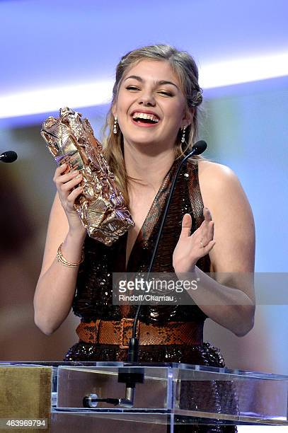 Actress Louane Emera receives the award for Most Promising Actress in 'la famille Belier' during the 40th Cesar Film Awards 2015 Ceremony at Theatre...