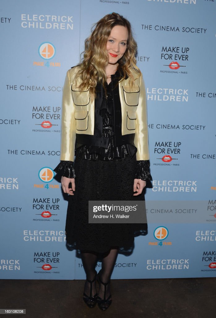 Actress Louisa Krause attends The Cinema Society & Make Up For Ever screening of 'Electrick Children' at IFC Center on March 4, 2013 in New York City.