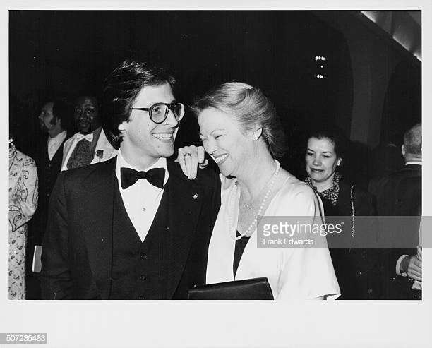 Actress Louise Fletcher and her boyfriend Morgan Mason attending a part to welcome 'The Muppets' to Hollywood Cocoanut Grove California April 1979