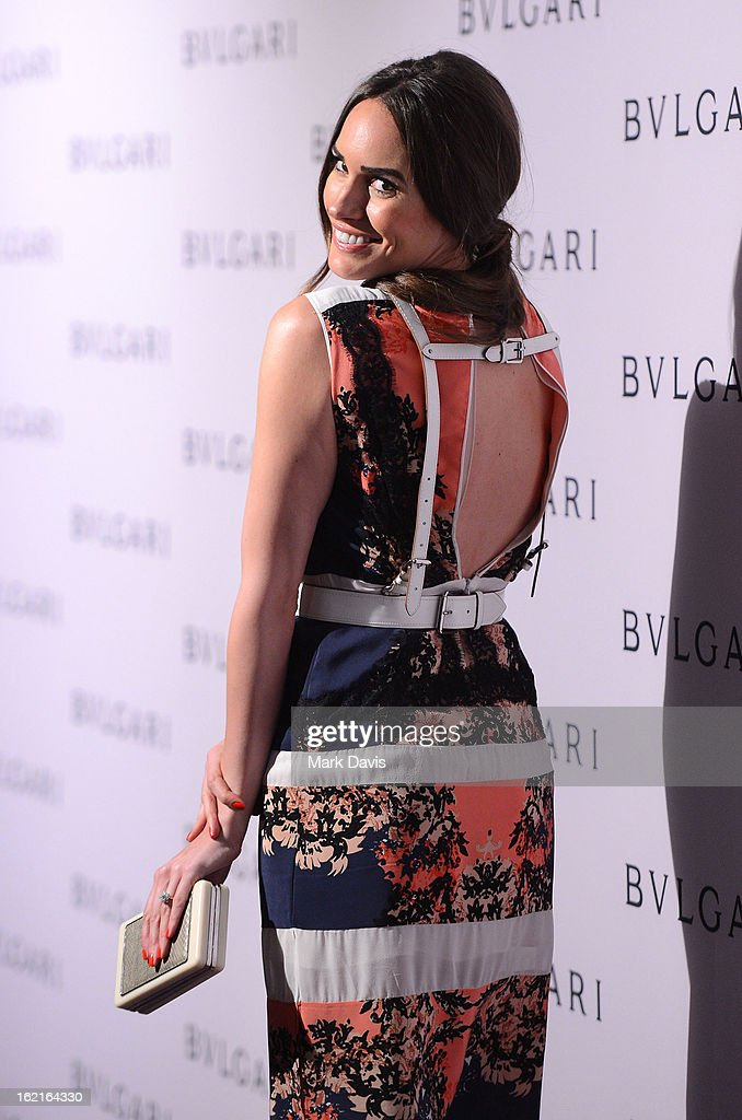 Actress Louise Roe arrives at the BVLGARI celebration of Elizabeth Taylor's collection of BVLGARI jewelry at BVLGARI Beverly Hills on February 19, 2013 in Los Angeles, California.