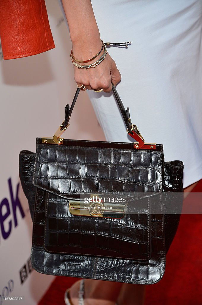 Actress Louise Roe (handbag detail) attends the launch of the Seventh Annual BritWeek Festival 'A Salute To Old Hollywood' on April 23, 2013 in Los Angeles, California.