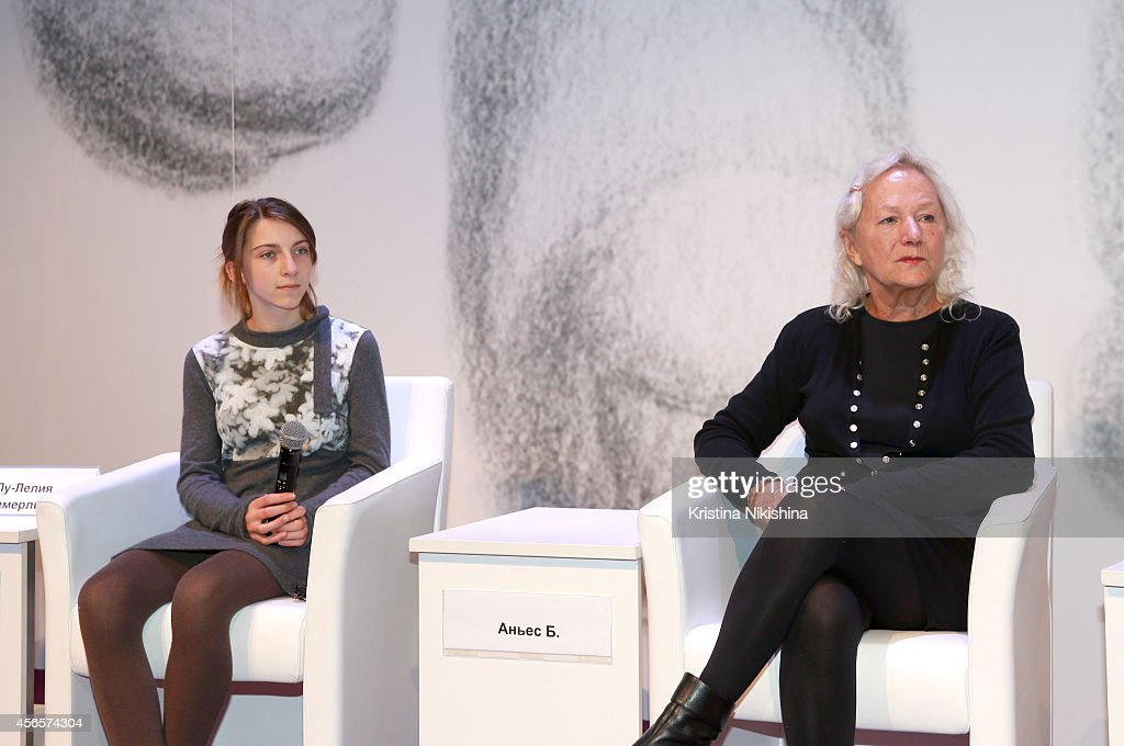 Actress Lou-Lélia Demerliac (L) and writer/director Agnès B. attend the 'Je m'appelle Hmmm' press conference during the Saint Petersburg International Media Forum at the Old Stock Exchange on October 3, 2014 in Saint Petersburg, Russia.