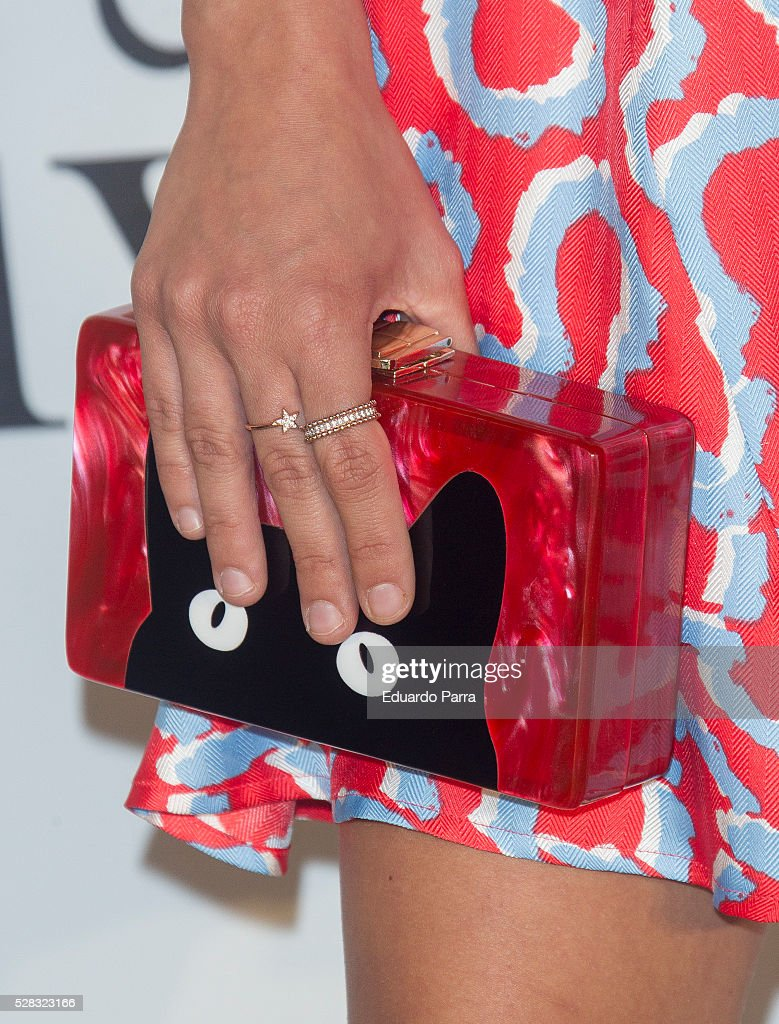 Actress Lucia de la Fuente, bag detail, attends 'El olivo' premiere at Capitol cinema on May 04, 2016 in Madrid, Spain.