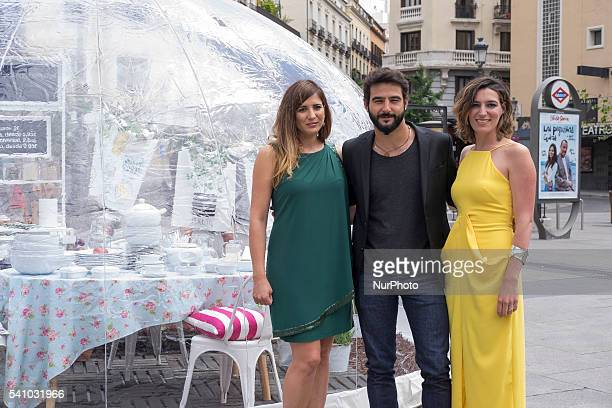 Actress Lucia Jimenez actor Antonio Velazquez and Alejandra Osborne attend the 'home bubbles' event at Santa Isabel square on June 17 2016 in Madrid...