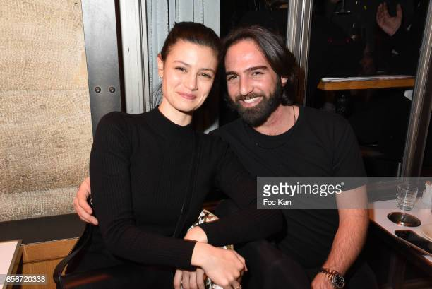 Actress Lucie Boujenah and PR Mickael Dahan attend 'Apero Mecs A Legumes' Party Hosted by Grand Seigneur Magazine at the Bistrot Marguerite on March...