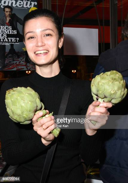 Actress Lucie Boujenah attends 'Apero Mecs A Legumes' Party Hosted by Grand Seigneur Magazine at the Bistrot Marguerite on March 22 2017 in Paris...