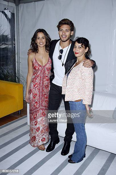 Actress Lucie Lucas Actor Rayane Bensetti and Actress Cecile Rebboah attend the 'Coup de Foudre a Jaipur' Photocall during the 18th Festival of TV...