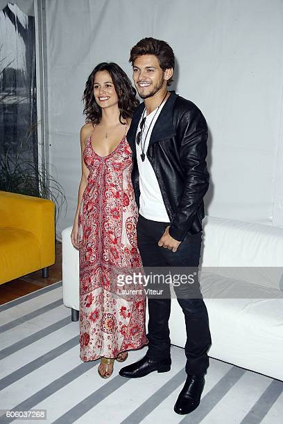 Actress Lucie Lucas and Actor Rayane Bensetti attends the 'Coup de Foudre a Jaipur' Photocall during the 18th Festival of TV Fiction on September 16...