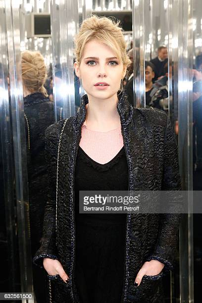 Actress Lucy Boynton attends the Chanel Haute Couture Spring Summer 2017 show as part of Paris Fashion Week on January 24 2017 in Paris France