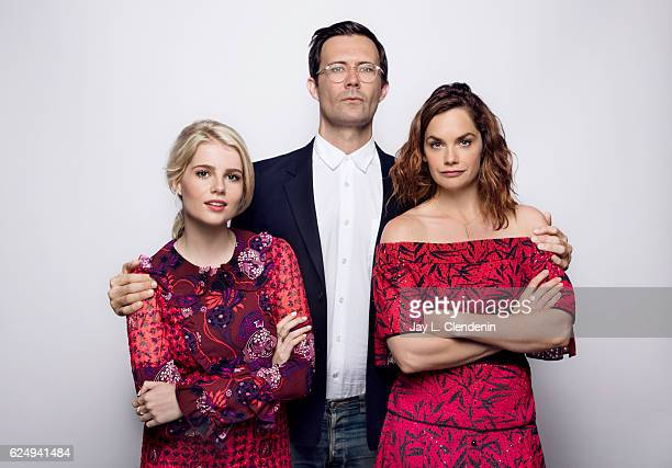 Actress Lucy Boynton director Osgood Perkins and actress Ruth Wilson from the film 'I am the Pretty Thing that lives in the House' pose for a...