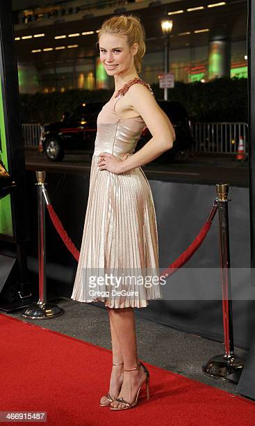Actress Lucy Fry arrives at the Los Angeles premiere of 'Vampire Academy' at Regal Cinemas LA Live on February 4 2014 in Los Angeles California