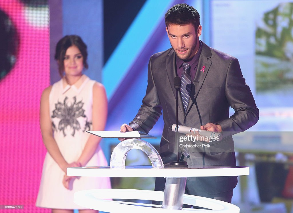 Actress Lucy Hale and 2012 HALO Award Nominee Matt Ferguson speak onstage at Nickelodeon's 2012 TeenNick HALO Awards at Hollywood Palladium on November 17, 2012 in Hollywood, California. The show premieres on Monday, November 19th, 8:00p.m. (ET) on Nick at Nite.