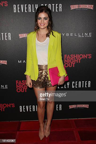 Actress Lucy Hale arrives at Fashion's Night Out 2012 at Beverly Center on September 6 2012 in Los Angeles California