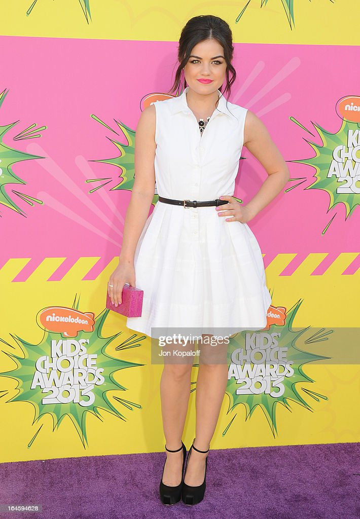 Actress Lucy Hale arrives at Nickelodeon's 26th Annual Kids' Choice Awards at USC Galen Center on March 23, 2013 in Los Angeles, California.