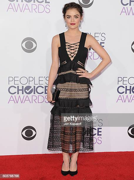 Actress Lucy Hale arrives at People's Choice Awards 2016 at Microsoft Theater on January 6 2016 in Los Angeles California