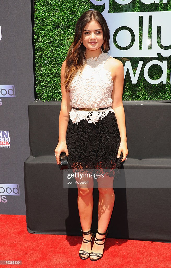 Actress <a gi-track='captionPersonalityLinkClicked' href=/galleries/search?phrase=Lucy+Hale&family=editorial&specificpeople=4430849 ng-click='$event.stopPropagation()'>Lucy Hale</a> arrives at the 15th Annual Young Hollywood Awards at The Broad Stage on August 1, 2013 in Santa Monica, California.
