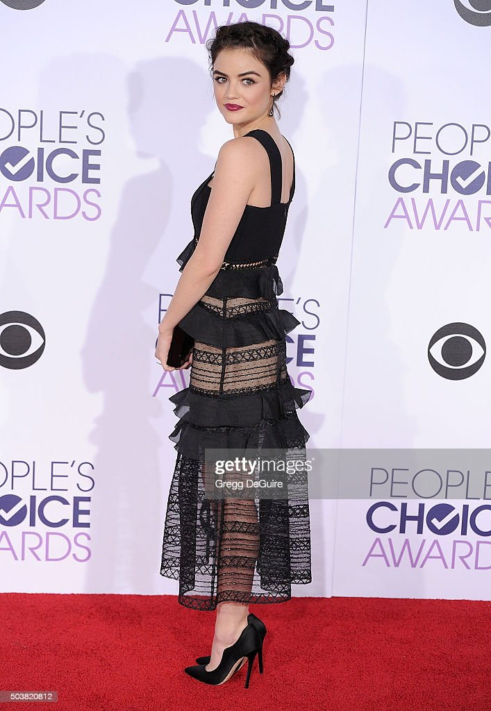 Actress Lucy Hale arrives at the 2016 People's Choice Awards at Microsoft Theater on January 6, 2016 in Los Angeles, California.