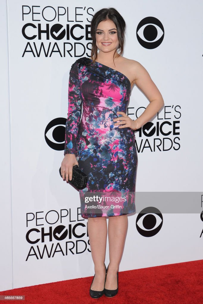 Actress <a gi-track='captionPersonalityLinkClicked' href=/galleries/search?phrase=Lucy+Hale&family=editorial&specificpeople=4430849 ng-click='$event.stopPropagation()'>Lucy Hale</a> arrives at The 40th Annual People's Choice Awards at Nokia Theatre L.A. Live on January 8, 2014 in Los Angeles, California.