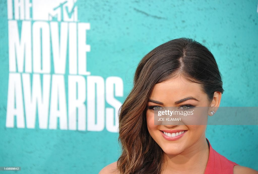 Actress Lucy Hale arrives at the MTV Movie Awards at Universal Studios, in Los Angeles, California, on June 3, 2012.