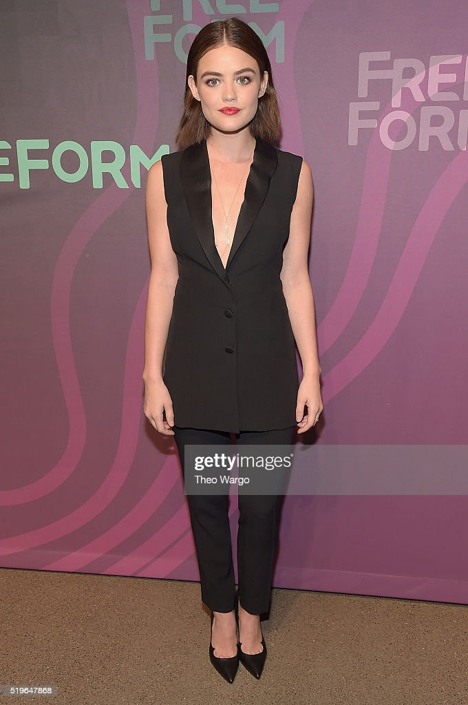 Actress <a gi-track='captionPersonalityLinkClicked' href=/galleries/search?phrase=Lucy+Hale&family=editorial&specificpeople=4430849 ng-click='$event.stopPropagation()'>Lucy Hale</a> attends 2016 ABC Freeform Upfront at Spring Studios on April 7, 2016 in New York City.