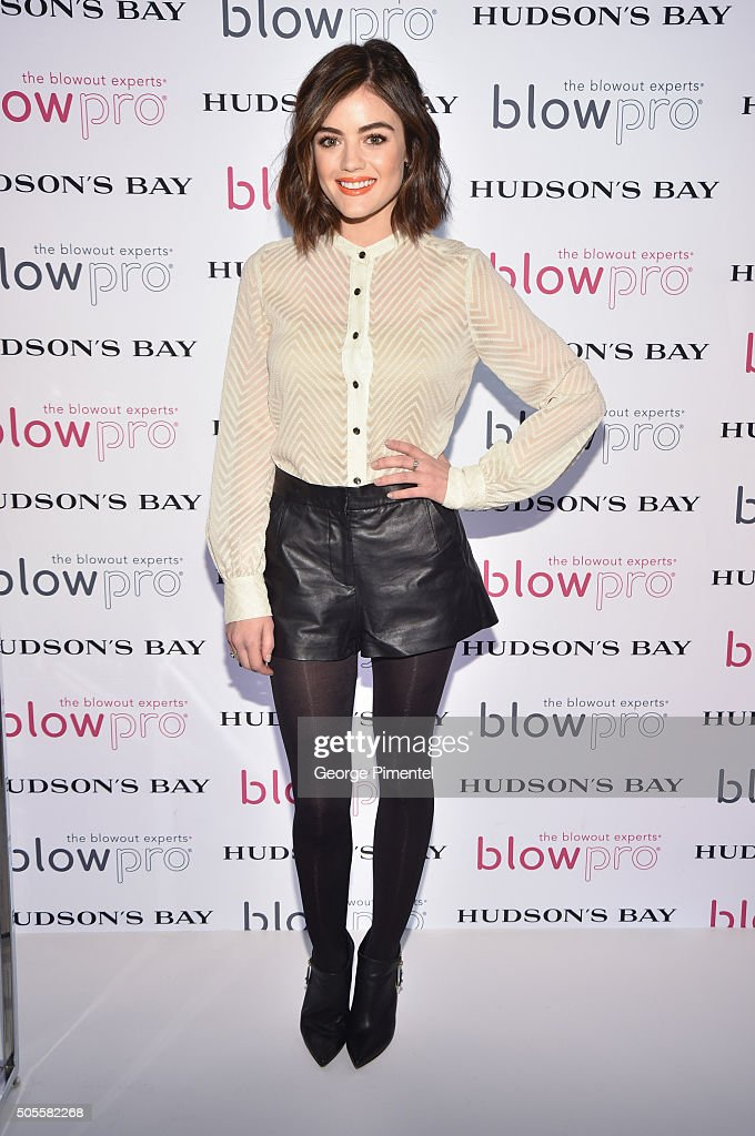 Actress Lucy Hale attends her launch of BlowPro at Hudson's Bay on January 18 2016 in Toronto Canada