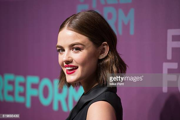 Actress Lucy Hale attends the 2016 Freeform Upfront at Spring Studios on April 7 2016 in New York City