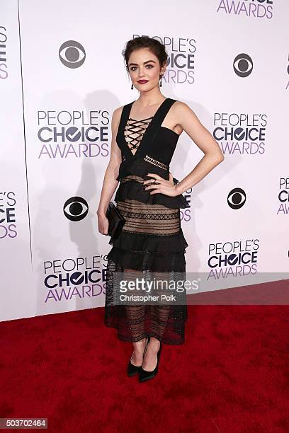 Actress Lucy Hale attends the People's Choice Awards 2016 at Microsoft Theater on January 6 2016 in Los Angeles California