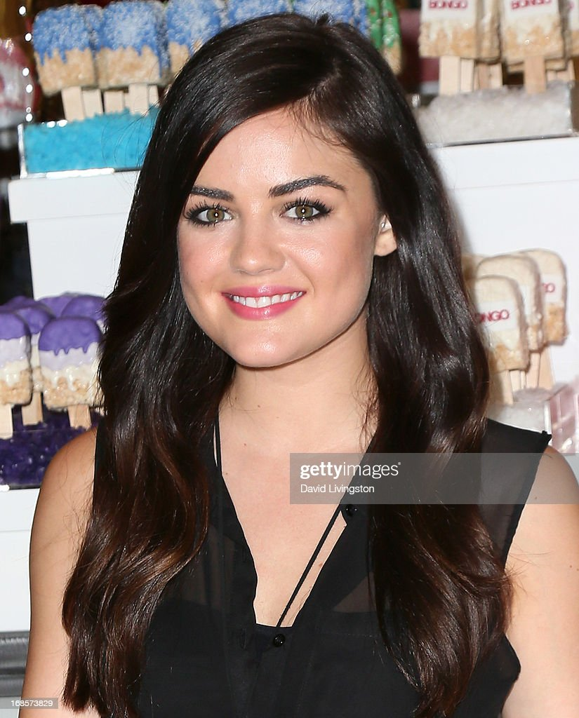 Actress <a gi-track='captionPersonalityLinkClicked' href=/galleries/search?phrase=Lucy+Hale&family=editorial&specificpeople=4430849 ng-click='$event.stopPropagation()'>Lucy Hale</a> celebrates Bongo's Summer 2013 Junior Brand Collection at Sears on May 11, 2013 in North Hollywood, California.